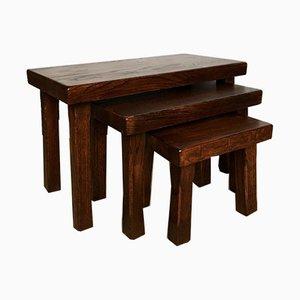 Tavolini o panche vintage in legno di quercia massiccio, set di 3