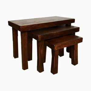 Vintage Solid Oak Nesting Tables or Benches, Set of 3