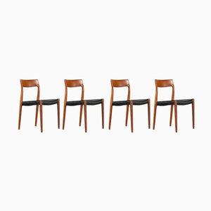 Dänische Mid-Century Modell 77 Stühle von Niels O. Moller für J.L. Mollers, 1960er, 4er Set