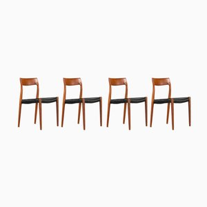 Mid-Century Danish Model 77 Chairs by Niels O. Moller for J.L. Mollers, 1960s, Set of 4