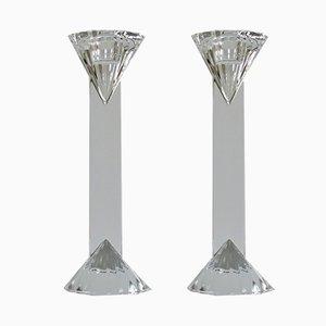 Candeleros vintage de cristal, años 70. Juego de 2