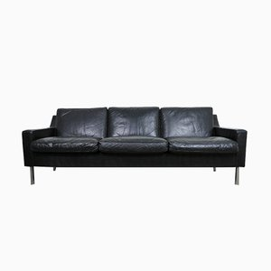 Black Leather Sofa, 1960s