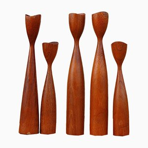 Mid-Century Danish Teak Candleholders, Set of 5