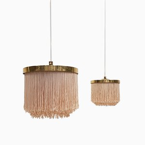 T-603 Brass & Silk Fringe Pendants by Hans-Agne Jakobsson for Markaryd, 1960s, Set of 2