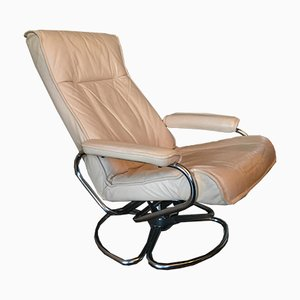 Mid-Century Danish Leather & Tubular Steel Swivel Lounge Chair
