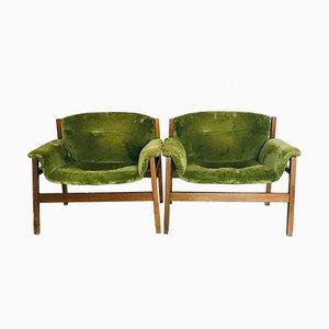 Grüne Armlehnsessel, 1960er, 2er Set
