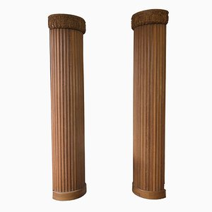 Fluted Wood Half Columns, 1900s, Set of 2