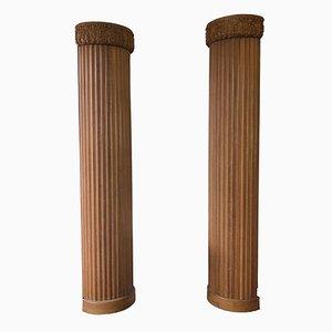 Semicolumnas de madera estriada, década de 1900. Juego de 2