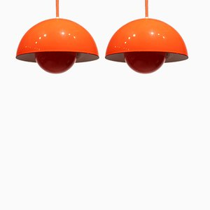 Model VP1 Flowerpot Pendants by Verner Panton, 1970s, Set of 2