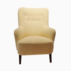 Sessel aus Wolle & Mahagoni, 1940er