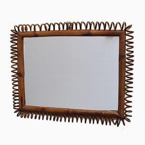 Rechteckiger italienischer Vintage Spiegel mit Rahmen aus Rattan & Bambus