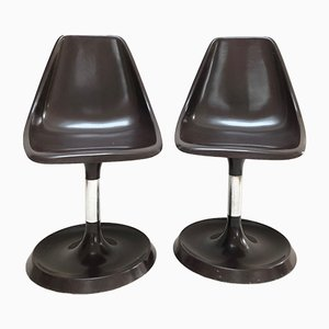 Brown Resin Tulip Chairs, 1950s, Set of 2