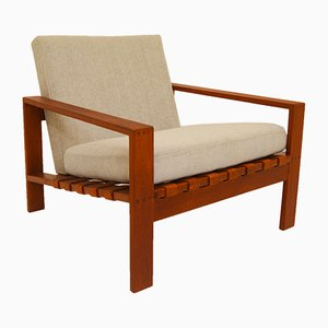Mid-Century Easy Chair with Leather Webbing by Svante Skogh