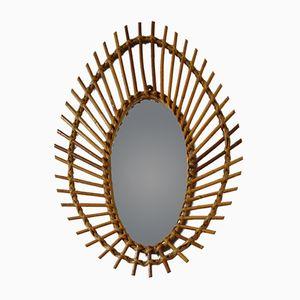 Eye Shaped Rattan Mirror, 1950s