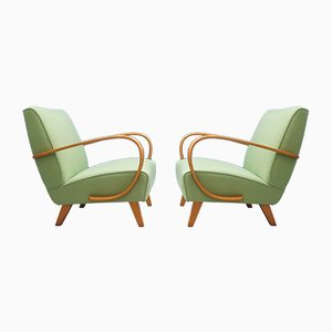 Green Bentwood Chairs by Jindřich Halabala for Thonet, 1930s, Set of 2