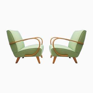 Sillas de madera curvada verdes de Jindřich Halabala para Thonet, años 30. Juego de 2