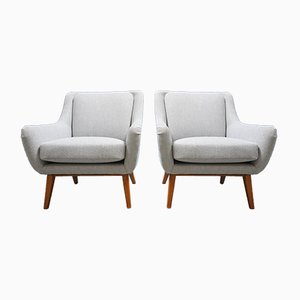 Mid-Century Danish Light Grey Lounge Chairs, Set of 2