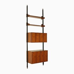 Vintage Floor-to-Ceiling Teak Veneer Bookcase