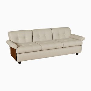 Vintage Italian Foam Sofa With Stained Poplar Veneer