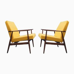 Gelbe Mid-Century Stühle von H. Lis, 1970er, 2er Set