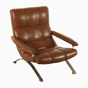 Vintage Armlehnstuhl mit Sitz aus Kunstleder & Gestell aus verchromtem Metall, 1970er