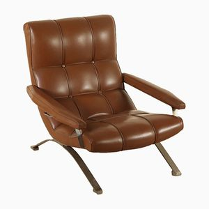 Vintage Leatherette Chromed Metal Armchair, 1970s