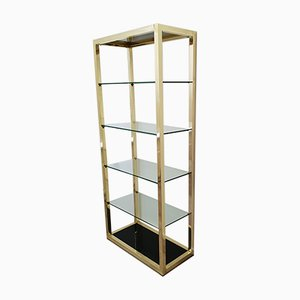 Vintage Gold-Plated Shelving Unit, 1970s