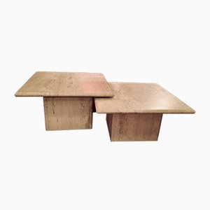 Vintage Travertine Marble Tables, Set of 2