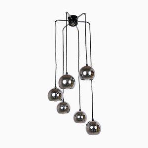 Lampada da soffitto in metallo cromato con sei paralumi sferici, Germania, anni '70