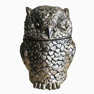 Gilt Silvered Metal Owl Ice Bucket by Mauro Manetti, 1960s