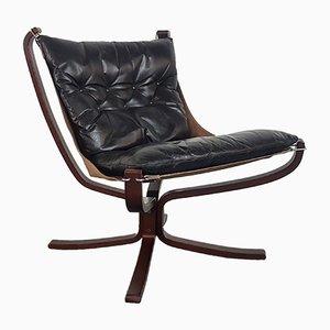 Chaise à Dossier Bas Falcon Noire Vintage par Sigurd Ressell pour Vatne Møbler
