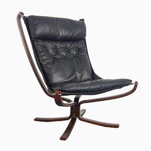 Chaise à Dossier Haut Falcon Noire Vintage par Sigurd Resell pour Vatne Møbler