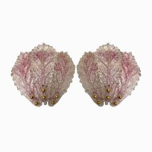 Mid-Century Pink Murano Glass Sconces, Set of 2