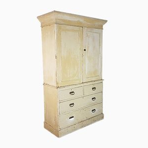 Vintage French Painted Linen Cupboard