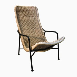 Stuhl aus Korbgeflecht, 1970er