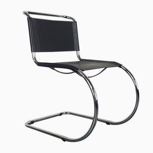 Mid-Century Stuhl mit schwarzem Lederbezug & Gestell aus Chrom von Ludwig Mies Van der Rohe