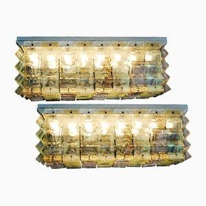 Einbaudeckenlampe Kronleuchter von Carlo Nason für Mazzega, 1970er, 2er Set