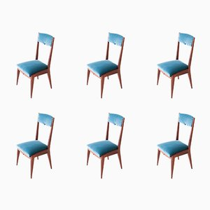 Mid-Century Italian Light Blue Velvet & Mahogany Dining Chairs, 1950s, Set of 6