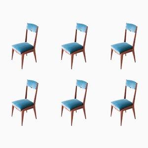 Mid-Century Italian Light Blue Velvet & Mahogany Dining Chairs, 1950s, Set of 6