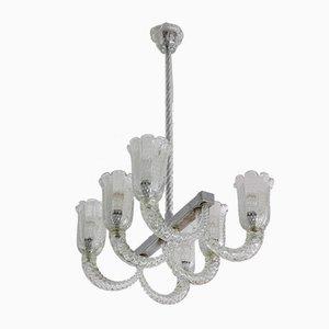 Lámpara de araña italiana Mid-Century de Murano de Barovier & Toso, años 40