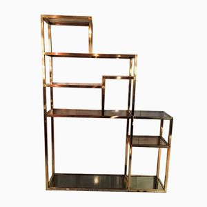 Satin Brass & Glass Shelf, 1970s