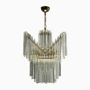 Lámpara de araña Triedri vintage de cristal de Murano de Venini