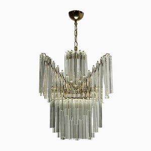 Vintage Triedri Murano Glass Chandelier by Venini