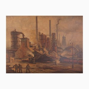 Vintage School Poster of Steel Mill by Karel Gabriel, 1951