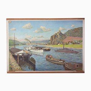 Poster scolastico vintage raffigurante navi da fiume