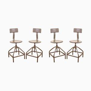 Chaises Industrielles Vintage en Métal, Set de 4