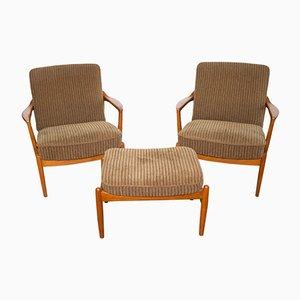 Paar 125 Sessel mit Fußhocker von Tove & Edvard Kindt-Larsen für France & Søn, 1958