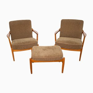 Pair of 125 Lounge Chairs with Ottoman by Tove & Edvard Kindt-Larsen for France & Søn, 1958
