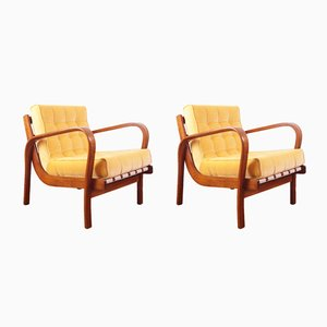 Mid-Century Lounge Armchairs by A. Kropacek and K. Kozelka for Interier Praha, 1950s, Set of 2