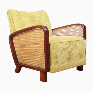 Vintage Art Deco Cane Lounge Chair, 1930s